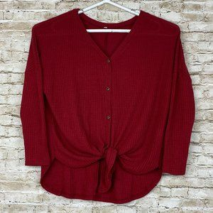 Sweaters - Womens Red Woven Knit Button Down Sweater Top M